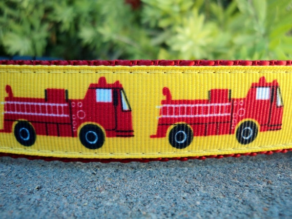 """Dog Collar Fire Truck 1"""" wide Side Release buckle adjustable - no martingale limited ribbon"""