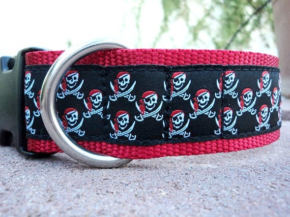 """Large Dog Collar Buccaneer 1.5"""" width side release buckle - No martingale limited ribbon"""
