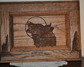 Wolf Hand Carved  Wood Wall Hanging