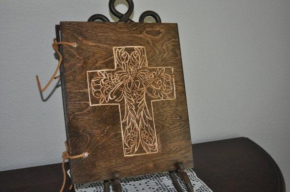 Celtic Cross Hand Carved Wood  Scrapbook Photo Album