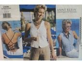 Anne Klein Halter Pattern,  Lace Up Back, Sleeveless Shirt, V-neck Vest, Shaped Hem, Vogue American Designer No. 2309 Size 8 10 12