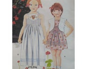 Girls Sundress Pattern, Tuck Detail, Embroidered Inset, Bolero Jacket - Little Vogue No. 2418, Size 5 (Breast 24 inches, 61cm)