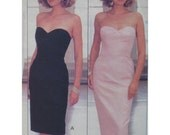 Strapless Dress Pattern, Cocktail, Heart Shape Bodice, Jacket, Evening, Fitted, Foundation, Butterick 6991 UNCUT Size 12 14 16 OR 6 8 (cut)