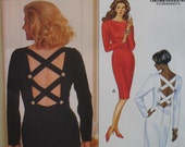 """Evening Dress Pattern Criss Cross Back Straps, Fitted, Long Sleeves, Butterick No. 4990 UNCUT Size 6, 8,10 (Bust 30.5 to 32.5"""", 78 to 83cm)"""