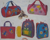 Childrens Colorful Animal Bags Pattern, Ladybug, Butterfly, Caterpillar, Bee, Lizard - Tote, Lunch, Duffel, Back Pack - Butterick 6735 UNCUT