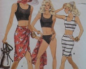 Cruise Wear Pattern Panties, Bra Top, Wrap Skirt, Tapered Skirt, Stretch Fabric Vogue no 7228 Size 12 14 16