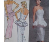 80s Strapless Gown Pattern, Heart Bustline, Peplum, Fitted Skirt, Evening Wear, Prom, Straps, Butterick No. 4904 UNCUT Size 12, 14, 16