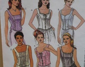 Sleeveless Bustier Top Pattern, Lined, Princess Seams, Zipper Closure,Various Necklines McCalls No.2249 Size 10 12 14 OR Size 12 14 16 UNCUT