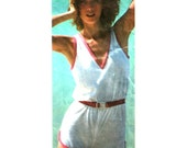 """Vintage Womens Romper Pattern, V Neckline, Pullover Shorts and Top, Simplicity 9523 UNCUT Size 8 10, 12 (Bust 31.5-34"""")"""