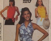 Wrap Halter Top Pattern Stretch Fabric, Cowl Neck, V Neck, Ties Front or Back Simplicity No. 8063 Size Petite (6-8)