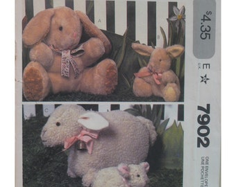 """Stuffed Lamb and Stuffed Bunny Pattern, Toys, Mother and Baby, McCall's No. 7902 ,UNCUT Two Sizes 8"""" and 15"""""""