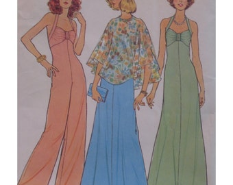 Disco 1970s Halter Jumpsuit, Dress Pattern, Fitted Bodice, Wide Leg Pants, Poncho, Simplicity No. 6939, Size 10, Bust 32.5 inches ( 83 cm)