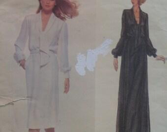 Vintage 70s Pierre Balmain Pattern Tie Neck Dress, Evening Gown, Vogue No. 1857 Size 12 OR Size 14