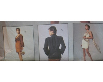 """Womens Fitted Dress Pattern, Straps, Side Buttons, Tie Front Bolero, Jacket, NY Collection, McCalls No. 5137  UNCUT Size 12  (Bust 34"""" 87cm)"""