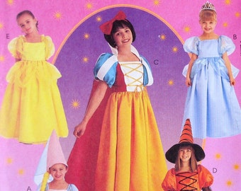 Storybook Princess Costume Pattern - Snow White, Cinderella, Belle, Rapunzel, Witch UNCUT  McCalls 2856 Size Girls Size 4 5 6 OR 10 12 14