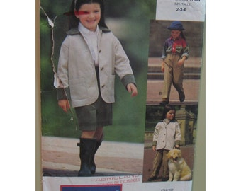 Childrens Sporty Jacket, Pants, Skirt Pattern, English Look,  Riding Pants, Pockets, Vogue Little Sport No. 8794  UNCUT Size: 5 6 6X