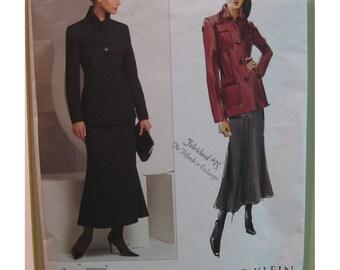 "Anne Klein Skirt Suit Pattern Princess Seam Below Hip Jacket Collar, Flared Skirt - Vogue No. V2872 Size 14, 16 (Bust 36 to 38"")"