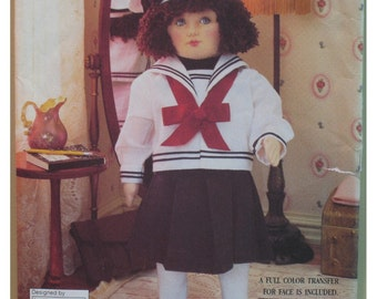 """Nautical Doll Pattern, Old Fashioned Sailor Suit, 18""""(46cm) Doll, Hat and Shoes Linda Carr UNCUT - Vogue No. 8647"""