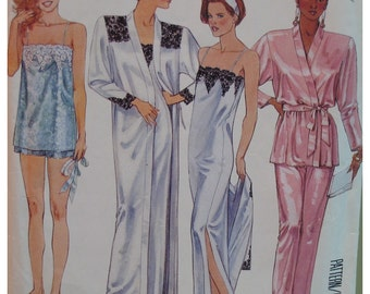 """Vintage Robe, Night Gown, PJs Pattern, 1980s, Lace Trim, Shoestring Straps, McCalls No. 3474, UNCUT Size Small 10-12 (Bust 32.5 -34"""")"""