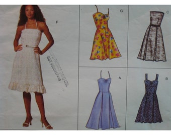 """Sundress Pattern, Fitted Bodice, Flared Skirt, Straps, Strapless, Pleated Skirt, Vogue No. 2429 Size 14 16 18 (Bust 36-40"""" 92-102cm)"""