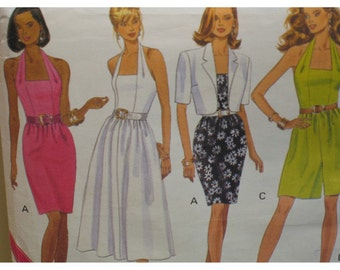 Halter Sundress Pattern, Fitted, Full or Slim Skirt, Culotte, Short Jacket, Butterick No. 6149 UNCUT Size 6 8 10