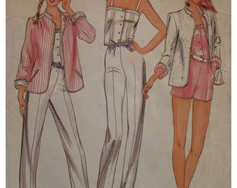 "Womens Jumpsuit Pattern, Jacket, Camisole Top, Buttons, Romper, Roll Up Sleeves, Notched Collar, Butterick 3705 Size 8 (Bust 31.5"" 80cm)"