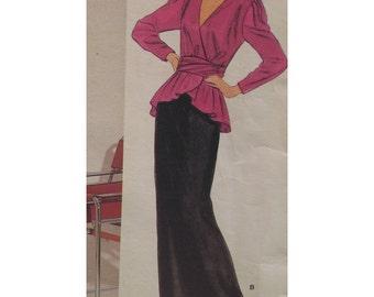 """Pierre Balmain Evening Gown Two Pieces, Wrap Peplum Top, Straight Skirt, Vintage 1980s Vogue Paris Design No. 1298 Size 12 (Bust 34"""" 87cm)"""