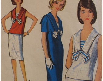 "SALE 50% off 60s Womens Sailor Dress Pattern, Sleeveless Blouse, Wiggle Skirt, Tie, Simplicity No 5840 UNCUT Vintage Size 12,  Bust 32"" 81cm"