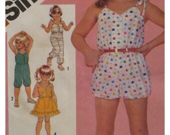 Girls Romper, Sundress Pattern, Jumpsuit, Beach Wear, Shoestring Straps, Button Front Simplicity  No. 5951 Size  3 4 5