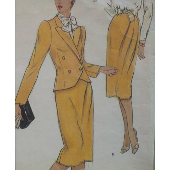 Oscar De la Renta Womens Jacket Pattern, Skirt, and Blouse, Vintage - Vogue No. 2368 UNCUT Size 10 (Bust 32.5, 83cm)