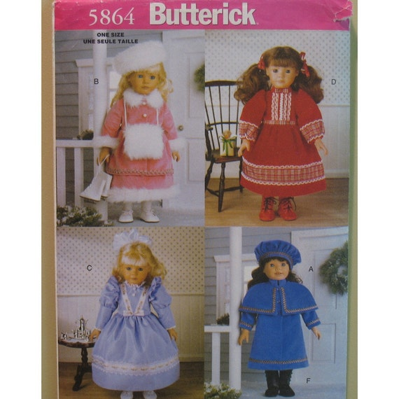 """Doll Historical Clothing Pattern,19th Century Dresses -  Butterick No. 5864  Size: Fits 18"""" or 46 cm Doll"""