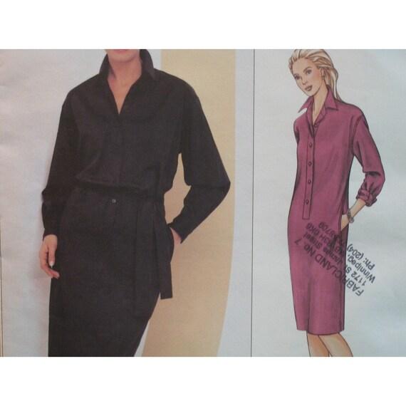 Donna Karan Dress Pattern, Shirt Dress, Loose Fitting, Straight, Collar, Long Sleeves Vogue American Designer 2680 UNCUT Size 12 14 16