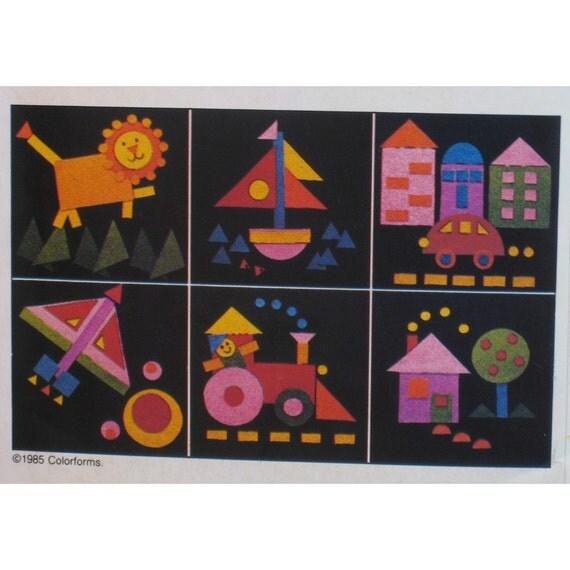 """Colorforms Pattern Children's Felt Game, Design Board, Shapes - Butterick No. 3608 UNCUT Size 18x18""""(46x46cm)"""
