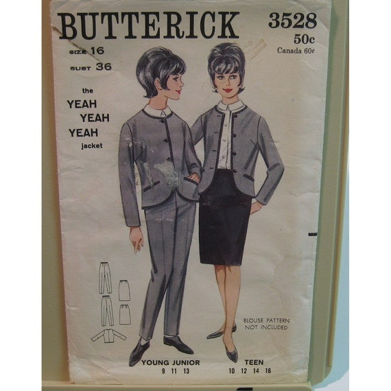 "Iconic Beatles Pattern Vintage 1960s Fab Four, Womens Jacket, Pants Skirt - Butterick No. 3528 UNCUT Size 14 (old 16) Bust 36"", 92cm"