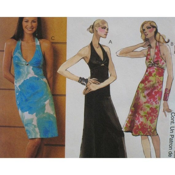 Halter Dress Pattern, Front Twist, Lined Top, Straight or A line Skirt McCalls No. 3574 UNCUT Size 12 14 16 18