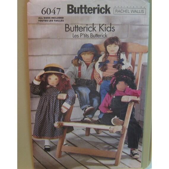 Stuffed Dolls Pattern, Rachel Wallis Design Real Size Butterick Kids, Four Different Faces, 36 inches (92cm)  Butterick No. 6047 UNCUT
