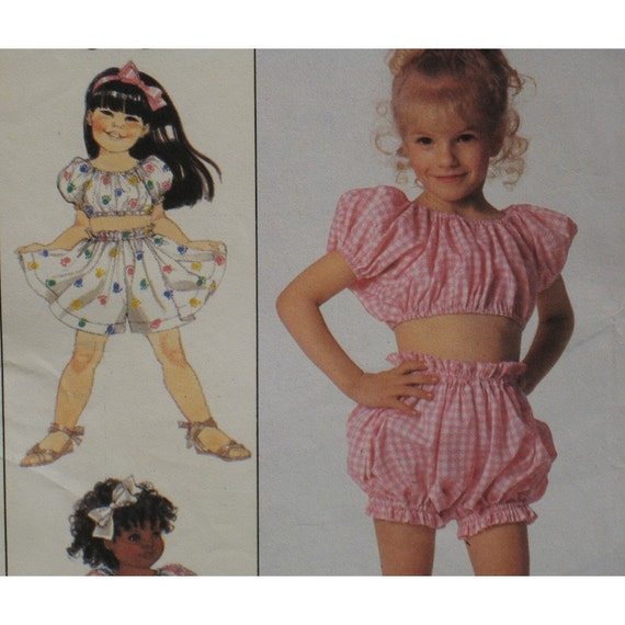"""Girls Bloomers, Sundress Pattern, Culotte, Peasant Top, Peasant Dress, Romper Simplicity No. 9216 UNCUT Size 3 to 6 (Chest 22"""" to 25"""")"""