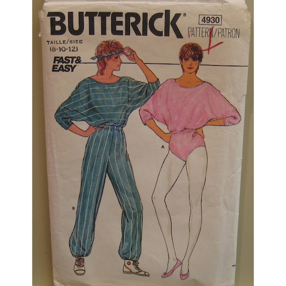 Batwing Sleeved Body Suit, Romper, Jogging Suit, Jumpsuit, Elastic Waist, Vintage 1980s Butterick No. 4930 Size 8 10