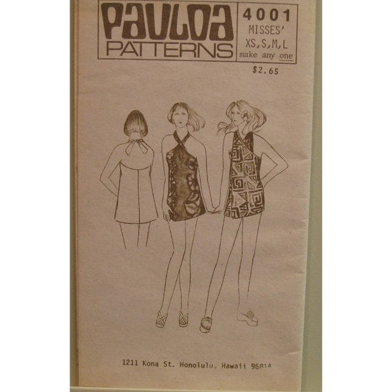 "Hawaiian Halter Beach Cover Up Pattern Vintage 1970s, Pauloa No 4001, UNCUT Size XS S M L(Bust 30.5 to 40"" 77 to 102cm)"