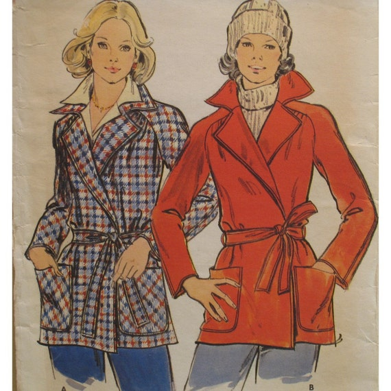 """Wrap Jacket Pattern, Casual, Patch Pockets, Notched Collar, Raglan Sleeves, Butterick No. 3914 UNCUT Size 8 (Bust 31.5"""" 78cm)"""