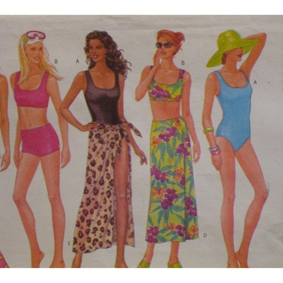 Swimsuit and Cover Up Pattern, Beachwear, Panties, Bra, One Piece, Wrap Skirt Butterick No. 5551 Size 12 14 16