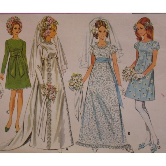 Wedding Dress Patterns Empire Line : Empire waist dress pattern wedding bridesmaid vintage s scoop