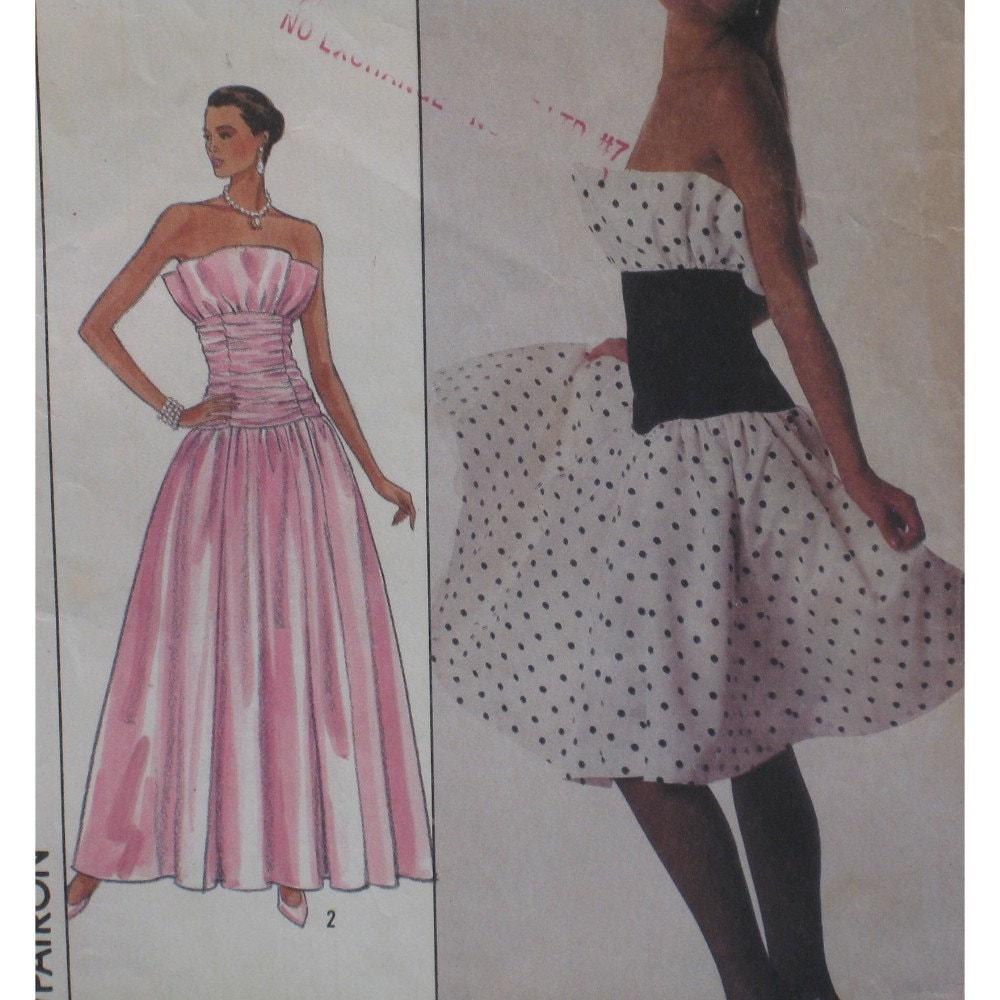 Glamorous Strapless Dress Pattern Ruffle Bodice Ruched
