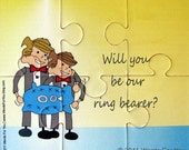 Will You Be Our Ring Bearer Card - Wedding Custom Interactive Foam Puzzle Message Card - Made with One Boy or Two & Your Message
