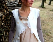 Romantic white reversible silk and wool leaf tunic