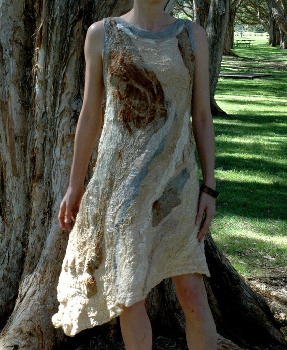 Paperbark original silk nuno felt dress