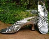 The 1960's Silver Metallic Strappy Amano Sandal