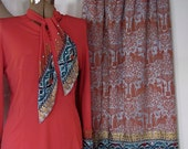 The 1950's Italian Studio Casa Silva Bedazzled Blouse and Maxi Skirt