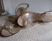 The 1930's Peep-Toe with Etched Heel Sandal