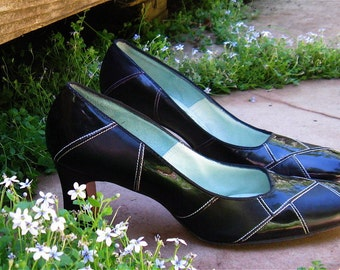 The Vintage 1960's Black Patent All Sewn Up Pump